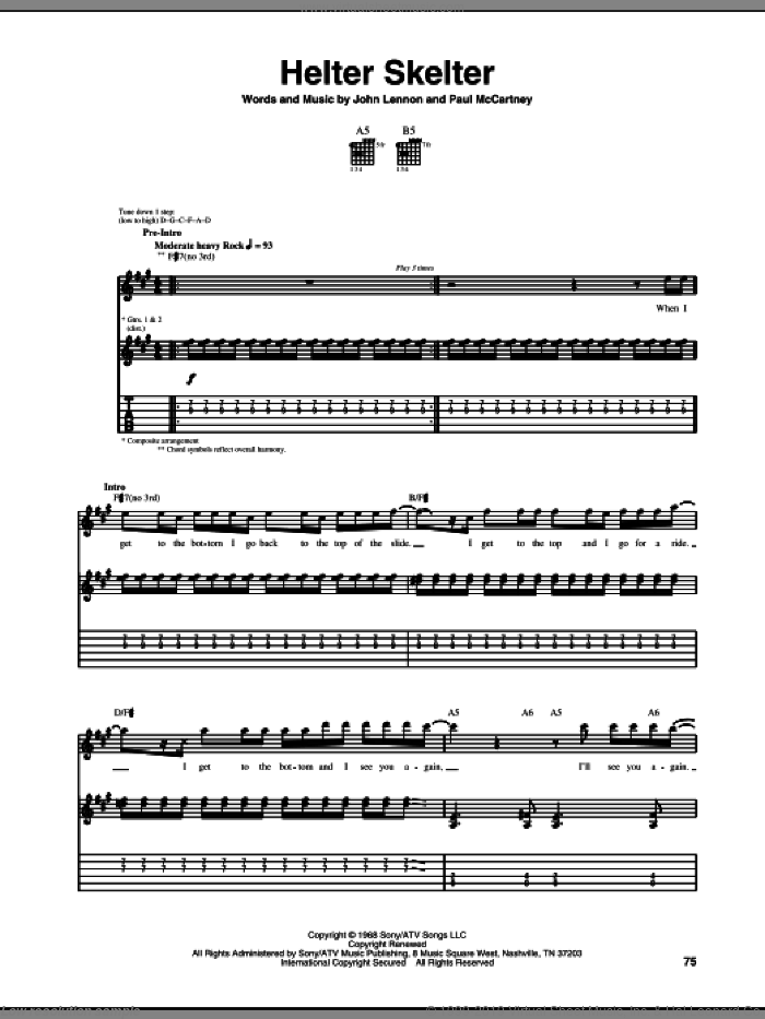 Helter Skelter sheet music for guitar (tablature) by Motley Crue, The Beatles, U2, John Lennon and Paul McCartney, intermediate. Score Image Preview.