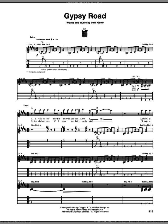 Gypsy Road sheet music for guitar (tablature) by Tom Keifer