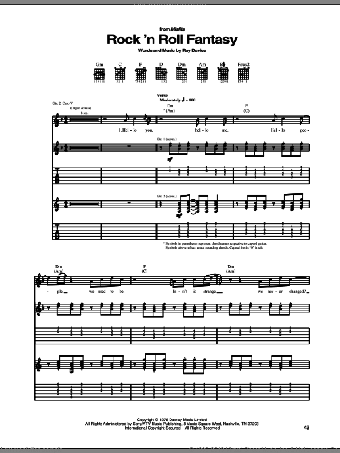 Rock 'N Roll Fantasy sheet music for guitar (tablature) by The Kinks and Ray Davies, intermediate. Score Image Preview.