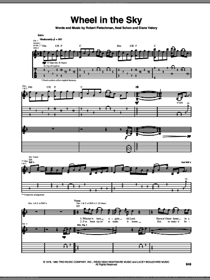 Wheel In The Sky sheet music for guitar (tablature) by Robert Fleischman