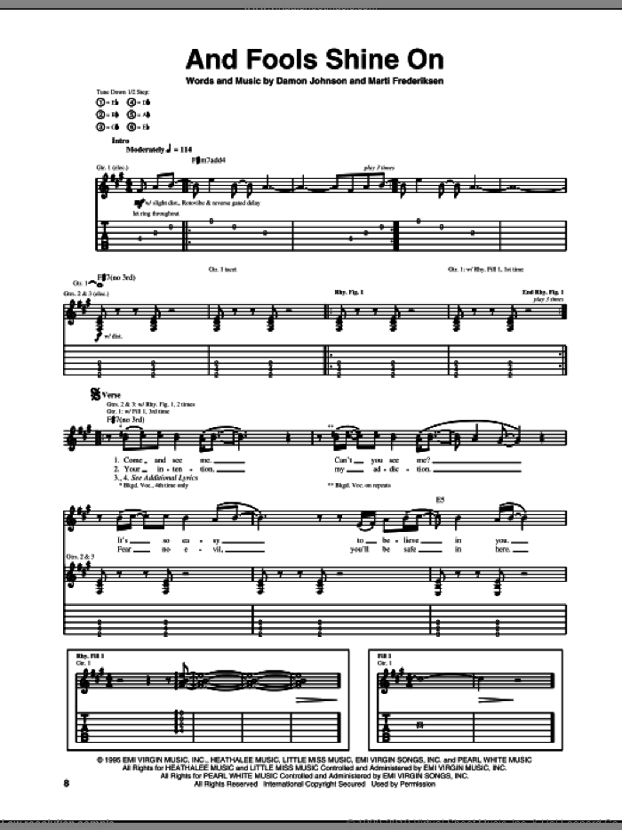 And Fools Shine On sheet music for guitar (tablature) by Brother Cane and Marti Frederiksen, intermediate. Score Image Preview.