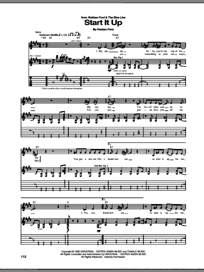 Start It Up sheet music for guitar (tablature) by Robben Ford. Score Image Preview.