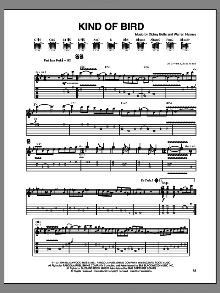 Kind Of Bird sheet music for guitar (tablature) by Dickey Betts and Warren Haynes. Score Image Preview.