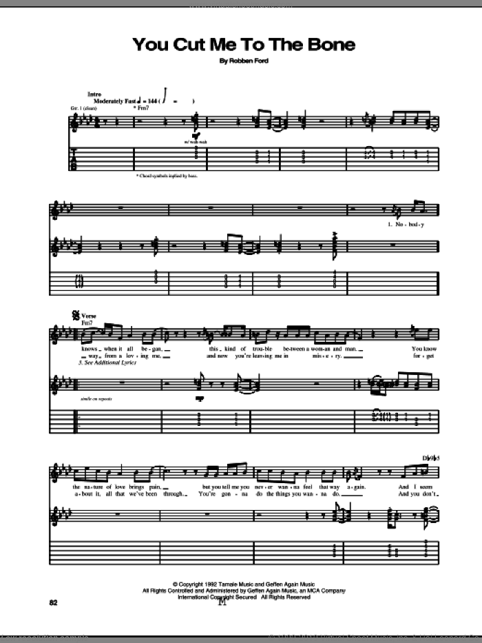 You Cut Me To The Bone sheet music for guitar (tablature) by Robben Ford. Score Image Preview.