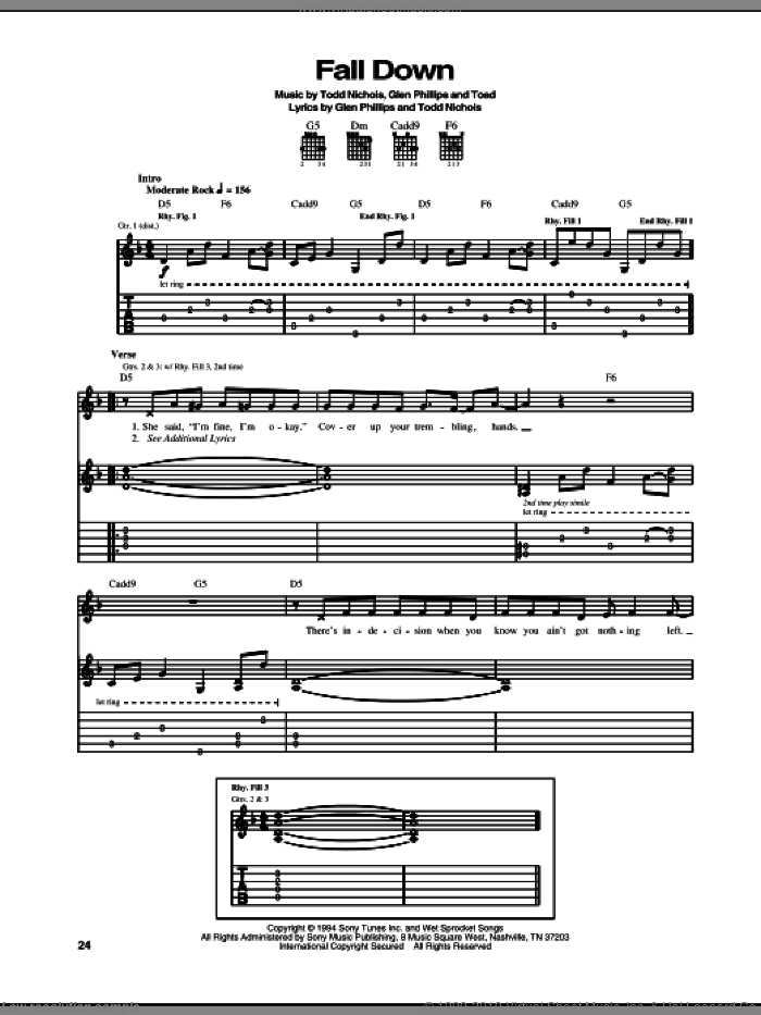 Fall Down sheet music for guitar (tablature) by Toad The Wet Sprocket, Glen Phillips, Toad and Todd Nichols, intermediate skill level