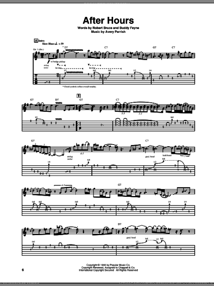 After Hours sheet music for guitar (tablature) by Robert Bruce, Roy Buchanan and Buddy Feyne