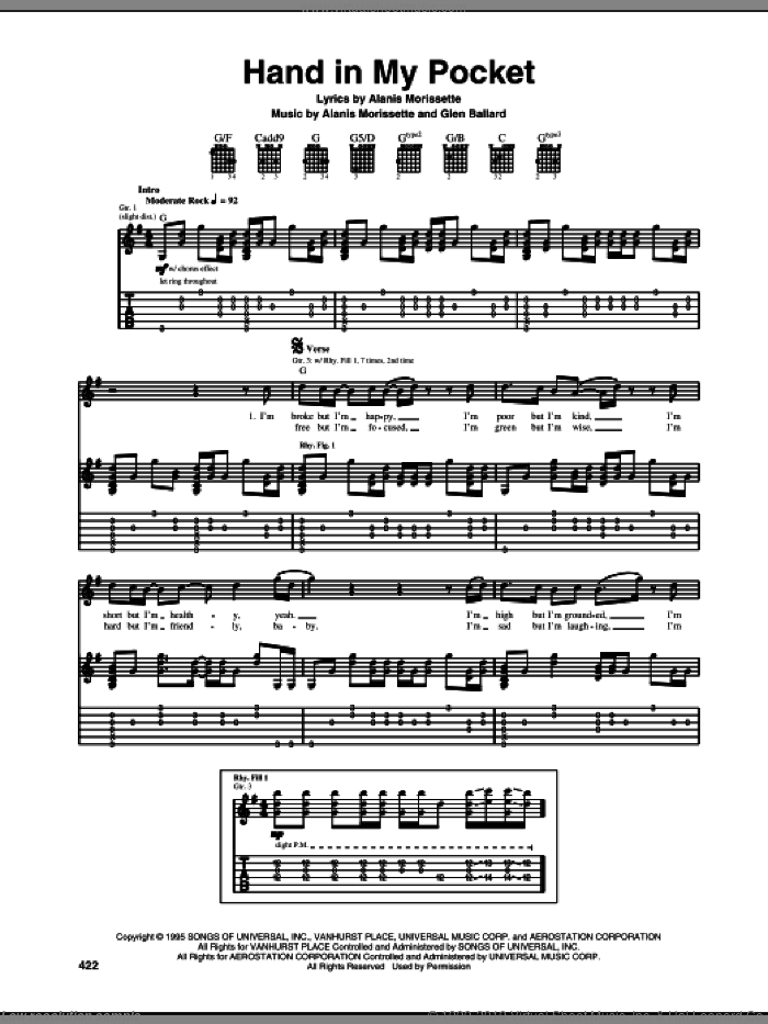 Hand In My Pocket sheet music for guitar (tablature) by Alanis Morissette and Glen Ballard, intermediate. Score Image Preview.