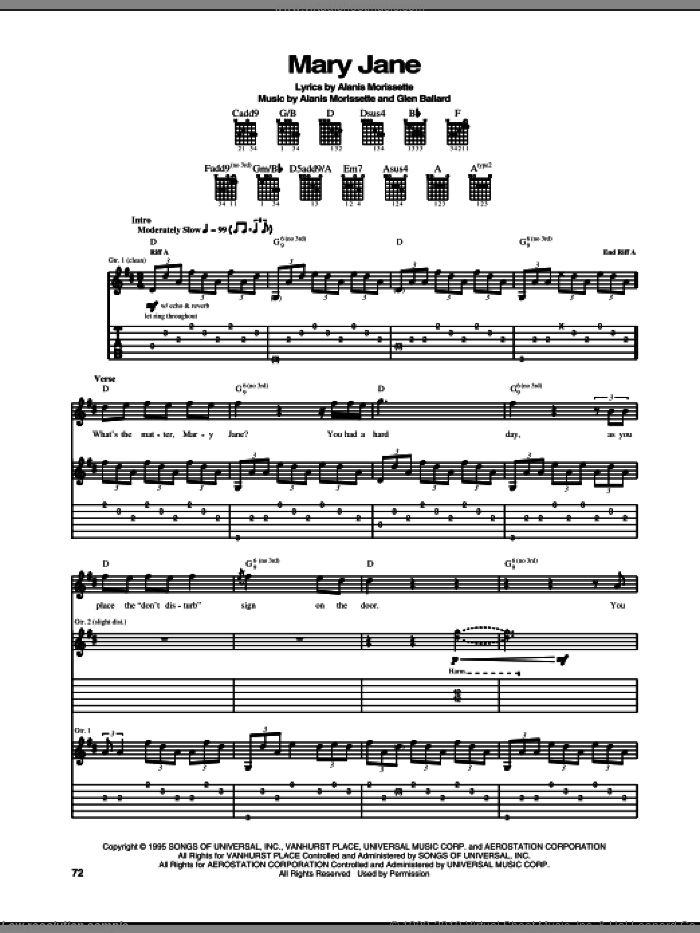 Mary Jane sheet music for guitar (tablature) by Alanis Morissette and Glen Ballard, intermediate skill level