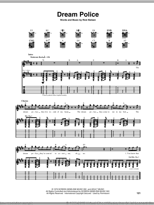 Dream Police sheet music for guitar (tablature) by Rick Nielsen