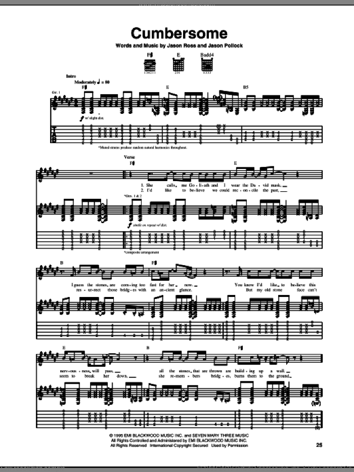 Cumbersome sheet music for guitar (tablature) by Seven Mary Three, Jason Pollock and Jason Ross, intermediate skill level