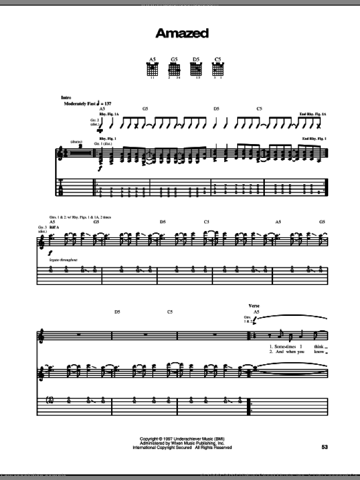 Amazed sheet music for guitar (tablature) by The Offspring