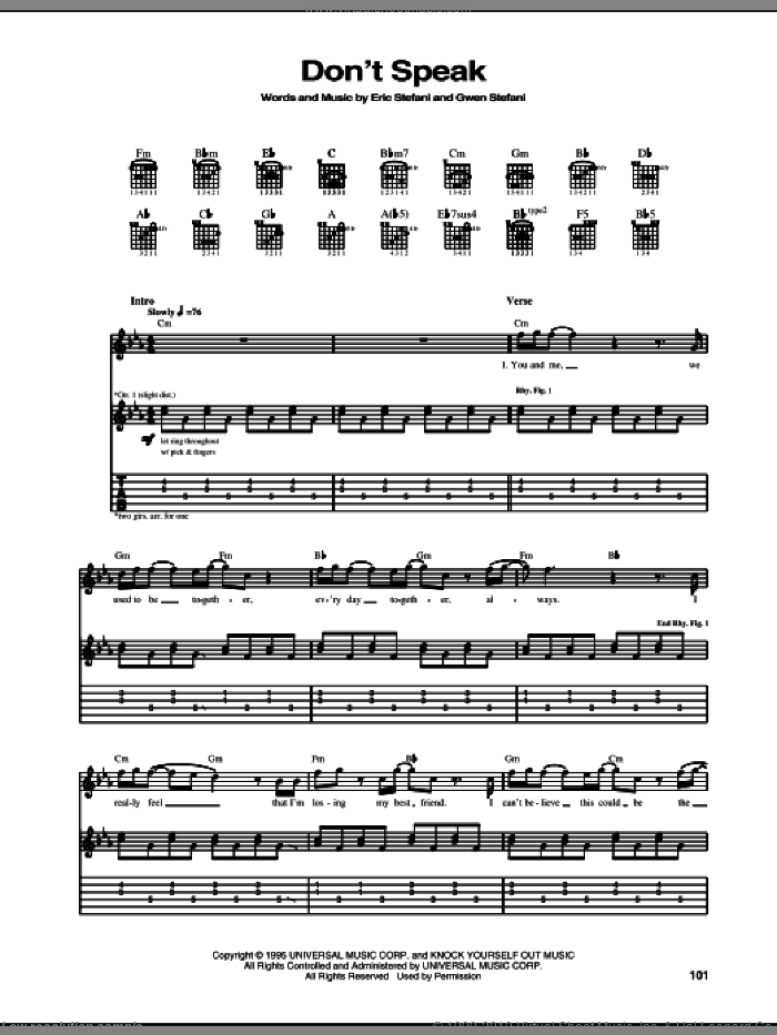 Don't Speak sheet music for guitar (tablature) by No Doubt, Eric Stefani and Gwen Stefani, intermediate skill level