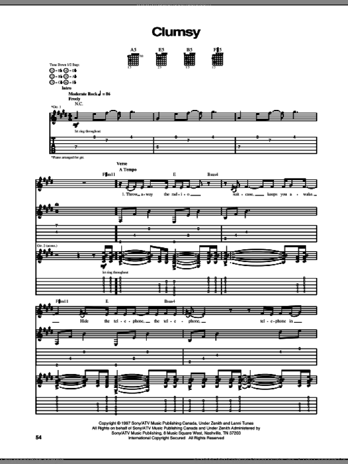 Clumsy sheet music for guitar (tablature) by Our Lady Peace and Arnold Lanni, intermediate skill level