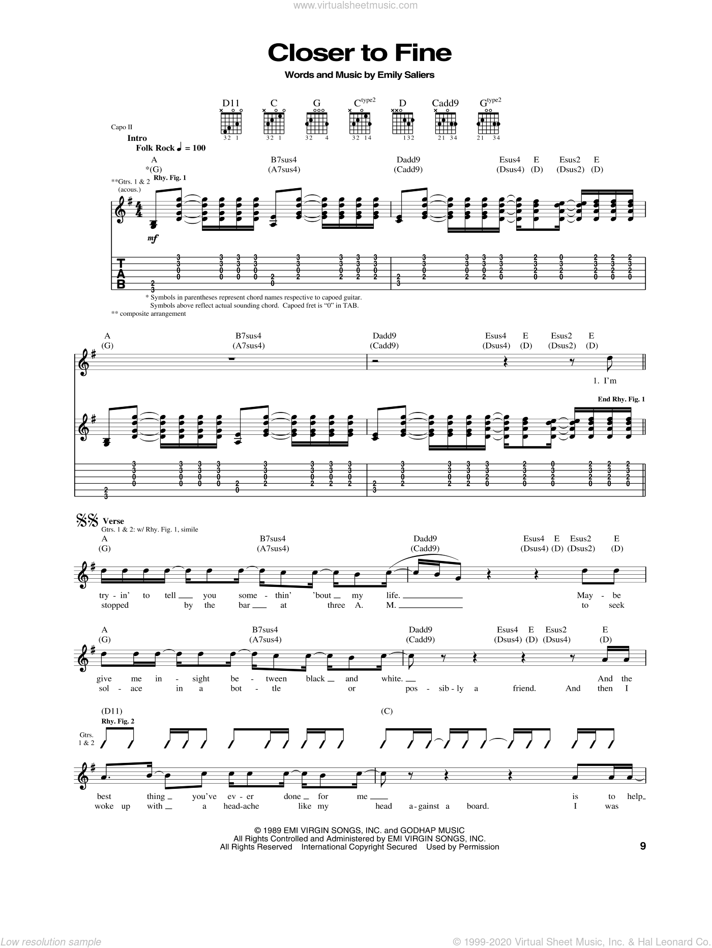 Closer To Fine sheet music for guitar (tablature) by Emily Saliers