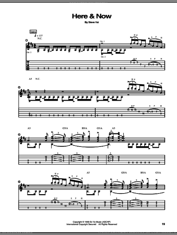 Here and Now sheet music for guitar (tablature) by Steve Vai, intermediate guitar (tablature). Score Image Preview.