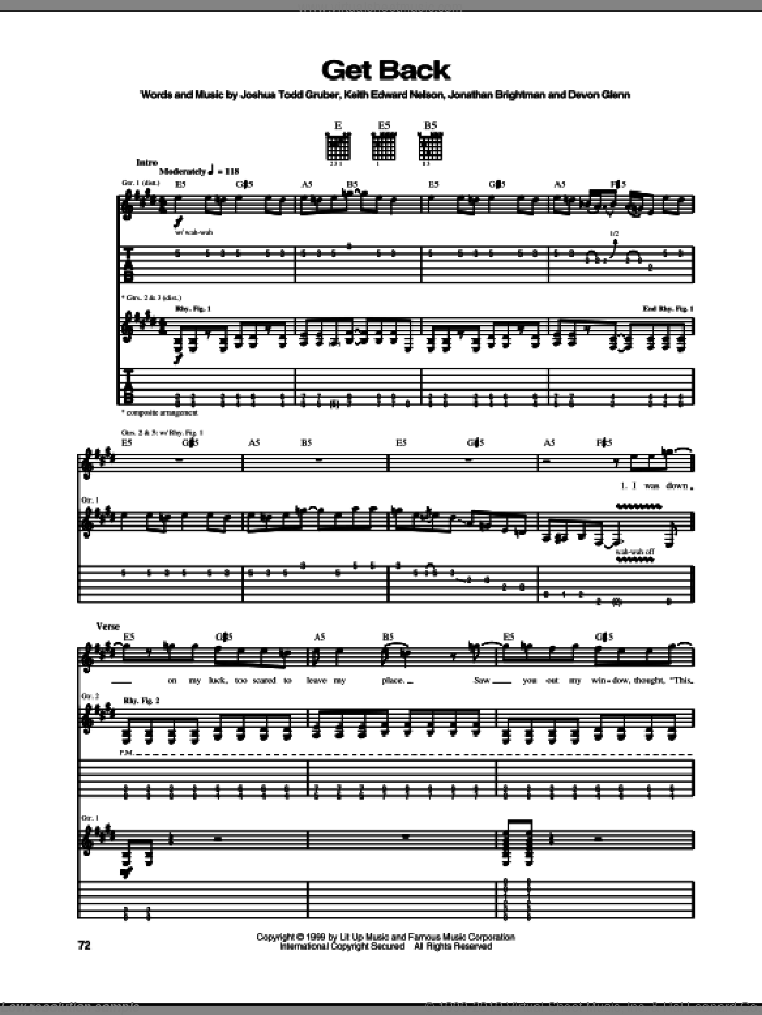 Get Back sheet music for guitar (tablature) by Buckcherry, Devon Glenn, Jonathan Brightman, Joshua Todd Gruber and Keith Edward Nelson, intermediate
