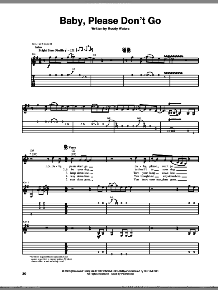 Baby, Please Don't Go sheet music for guitar (tablature) by Muddy Waters, intermediate skill level