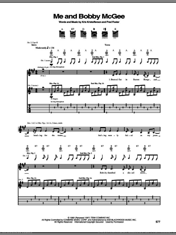 Me And Bobby McGee sheet music for guitar (tablature) by Kris Kristofferson, Janis Joplin and Fred Foster, intermediate skill level