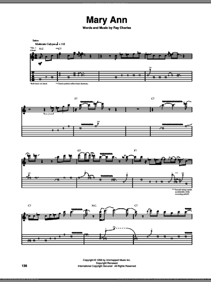 Mary Ann sheet music for guitar (tablature) by Ray Charles