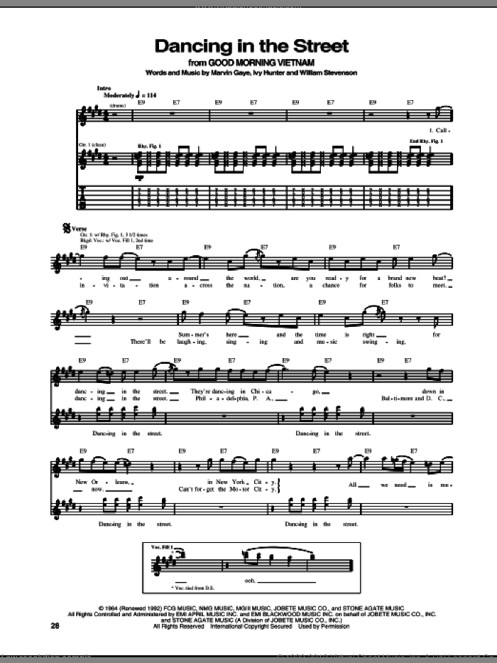 Dancing In The Street sheet music for guitar (tablature) by William Stevenson, Edward Van Halen, Martha & The Vandellas, Ivy Hunter and Marvin Gaye. Score Image Preview.
