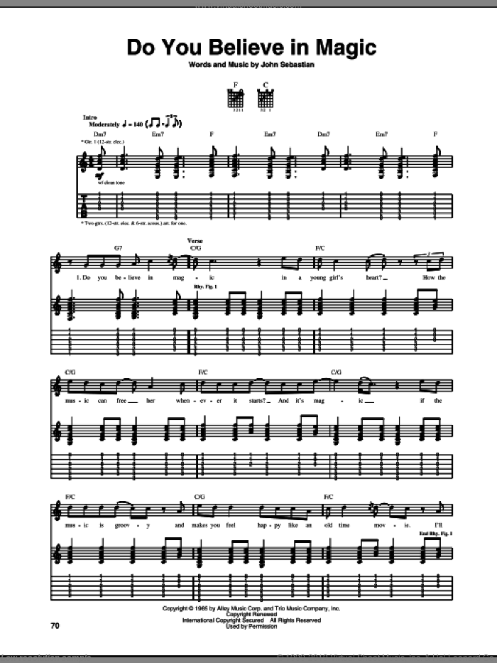 Do You Believe In Magic sheet music for guitar (tablature) by The Lovin' Spoonful and John Sebastian, intermediate skill level