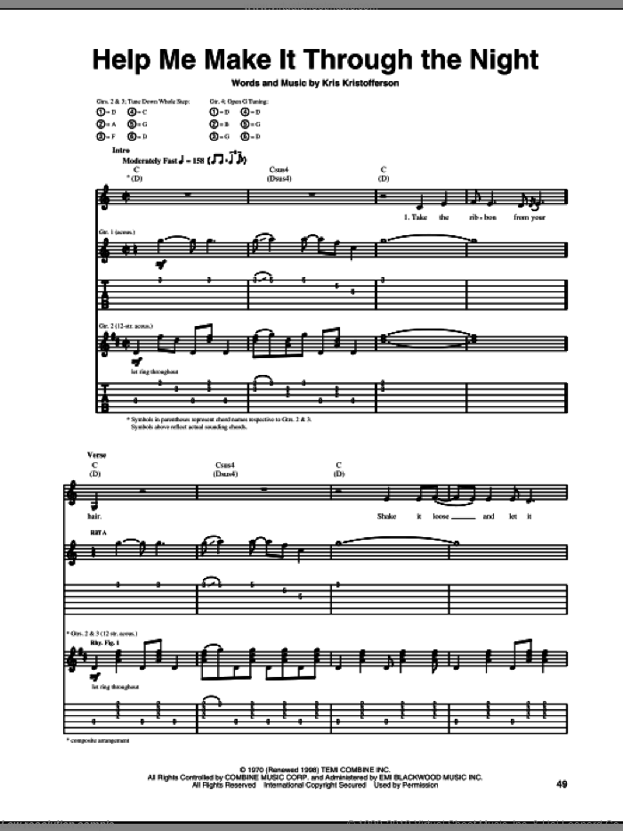 Help Me Make It Through The Night sheet music for guitar (tablature) by Kris Kristofferson, Elvis Presley, Sammi Smith and Willie Nelson. Score Image Preview.