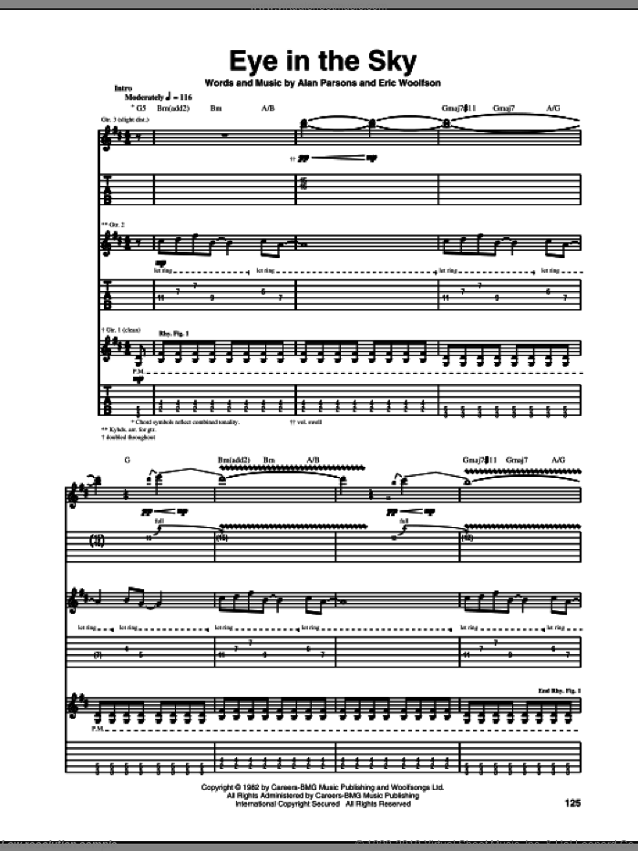 Eye In The Sky sheet music for guitar (tablature) by Alan Parsons Project, Alan Parsons and Eric Woolfson, intermediate. Score Image Preview.