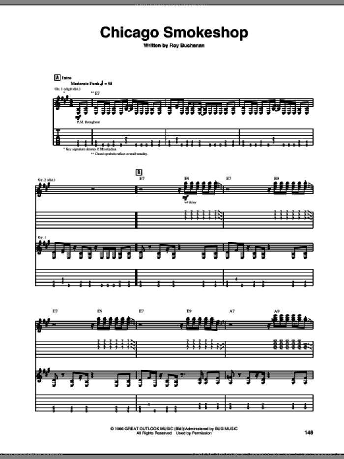 Chicago Smokeshop sheet music for guitar (tablature) by Roy Buchanan. Score Image Preview.