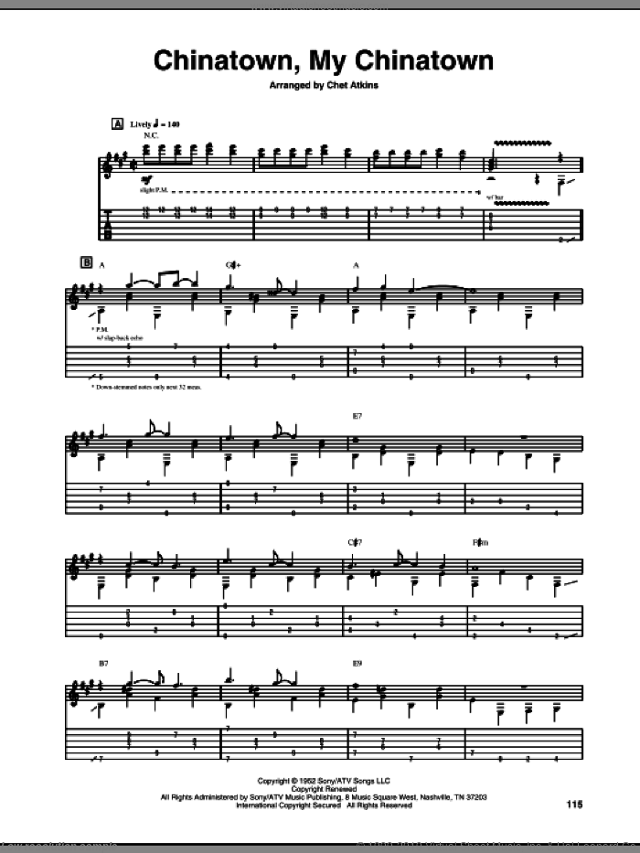 Chinatown, My Chinatown sheet music for guitar (tablature) by Chet Atkins. Score Image Preview.