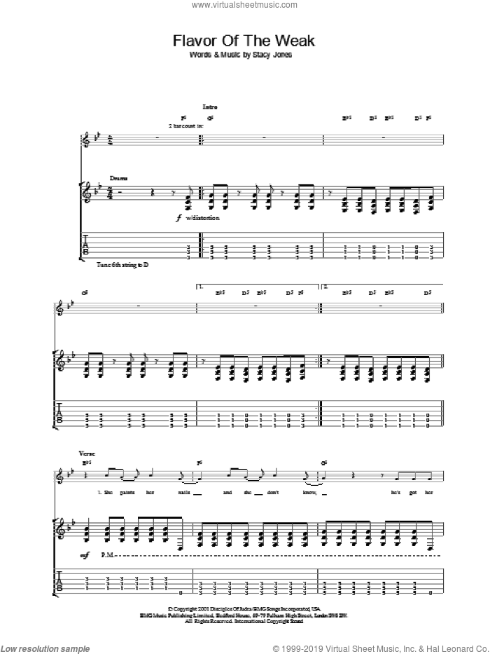 Flavor Of The Weak sheet music for guitar (tablature) by American Hi-Fi. Score Image Preview.