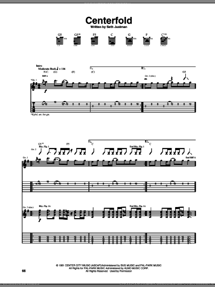 Centerfold sheet music for guitar (tablature) by Seth Justman and J. Geils Band. Score Image Preview.