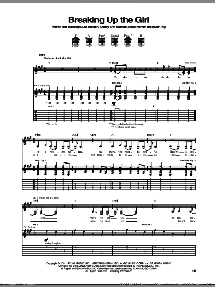 Breaking Up The Girl sheet music for guitar (tablature) by Steve Marker and Butch Vig