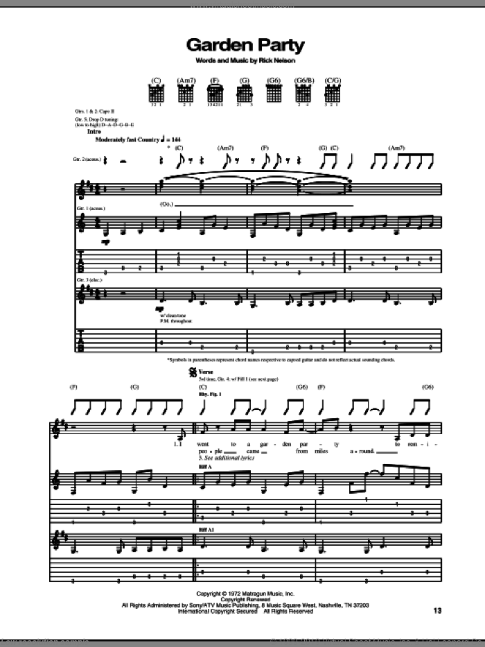 Garden Party sheet music for guitar (tablature) by Ricky Nelson. Score Image Preview.