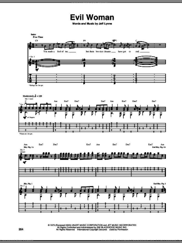 Evil Woman sheet music for guitar (tablature) by Jeff Lynne. Score Image Preview.