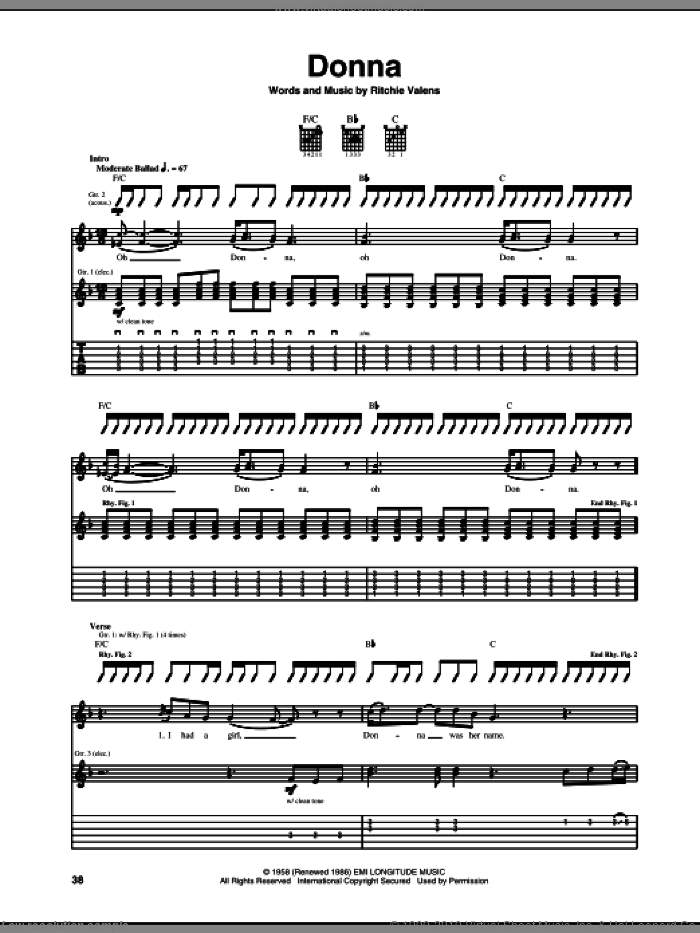 Donna sheet music for guitar (tablature) by Ritchie Valens. Score Image Preview.