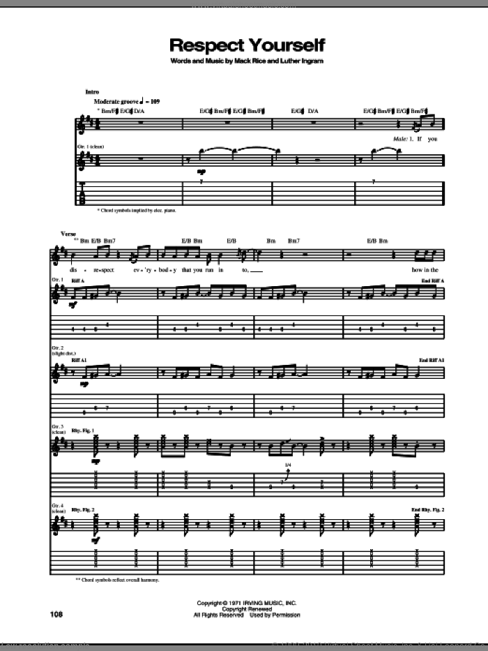 Respect Yourself sheet music for guitar (tablature) by The Staple Singers, Luther Ingram and Mack Rice, intermediate skill level