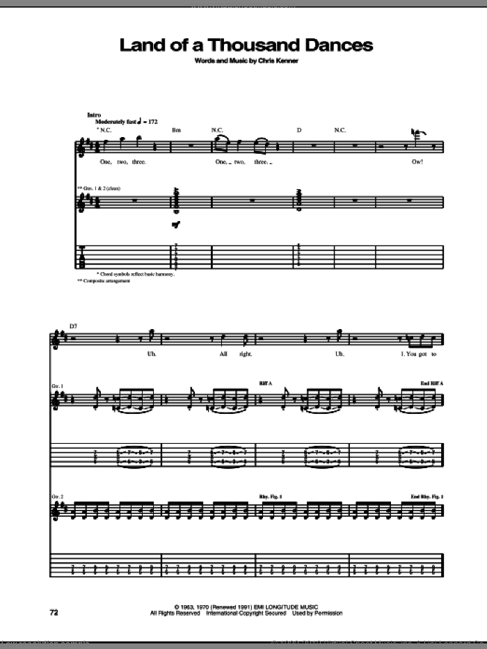 Land Of A Thousand Dances sheet music for guitar (tablature) by Chris Kenner