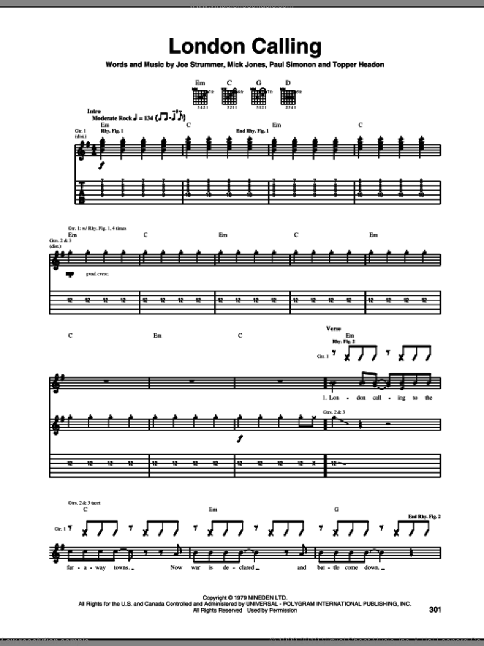 London Calling sheet music for guitar (tablature) by Topper Headon