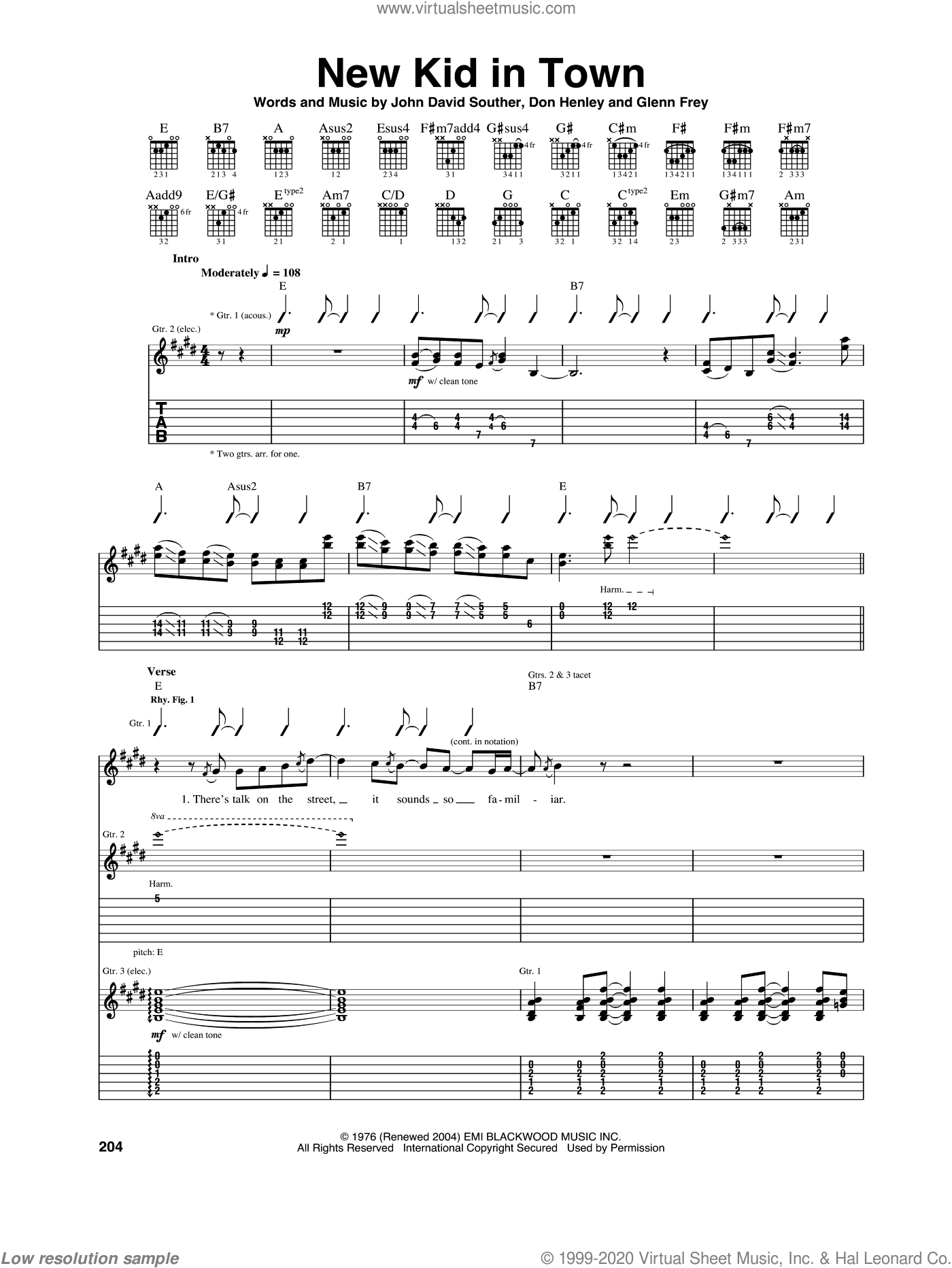 New Kid In Town sheet music for guitar (tablature) by John David Souther, Eagles, Don Henley and Glenn Frey