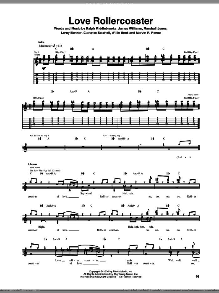 Love Rollercoaster sheet music for guitar (tablature) by Ohio Players, Red Hot Chili Peppers, Clarence Satchell, James L. Williams, Leroy Bonner, Marshall Jones, Marvin R. Pierce, Ralph Middlebrooks and Willie Beck, intermediate skill level