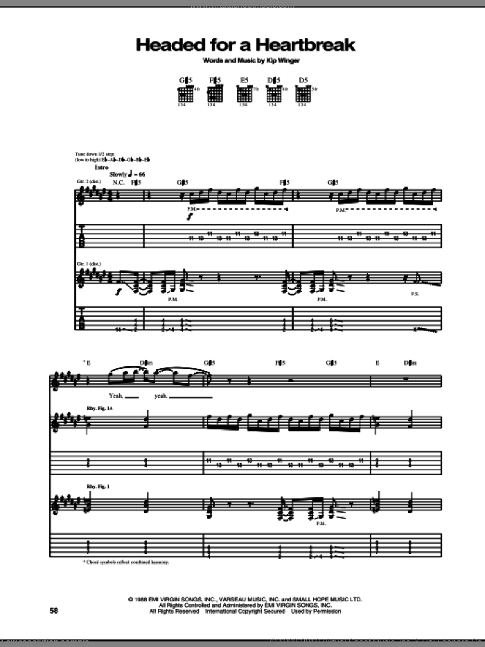 Headed For A Heartbreak sheet music for guitar (tablature) by Winger and Kip Winger, intermediate skill level