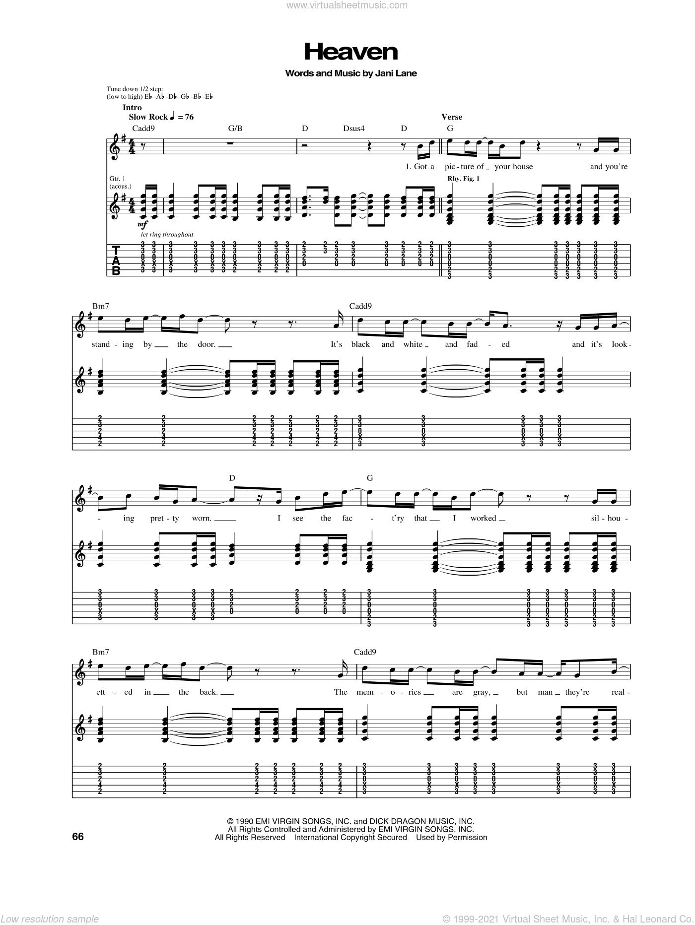 Heaven sheet music for guitar (tablature) by Jani Lane
