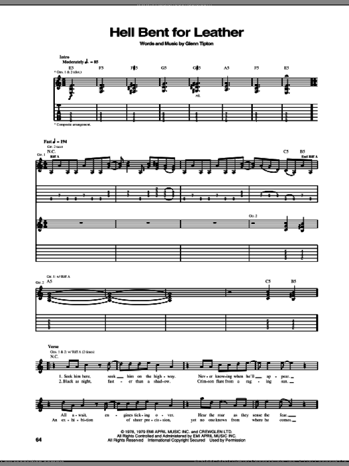 Hell Bent For Leather sheet music for guitar (tablature) by Judas Priest and Glenn Tipton, intermediate skill level