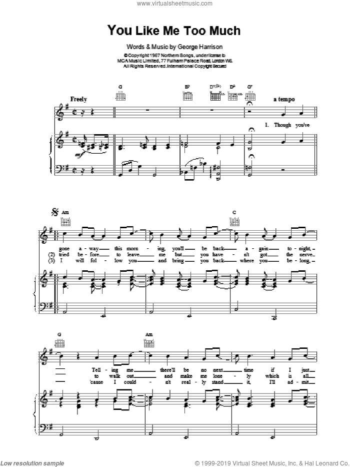 You Like Me Too Much sheet music for voice, piano or guitar by The Beatles. Score Image Preview.
