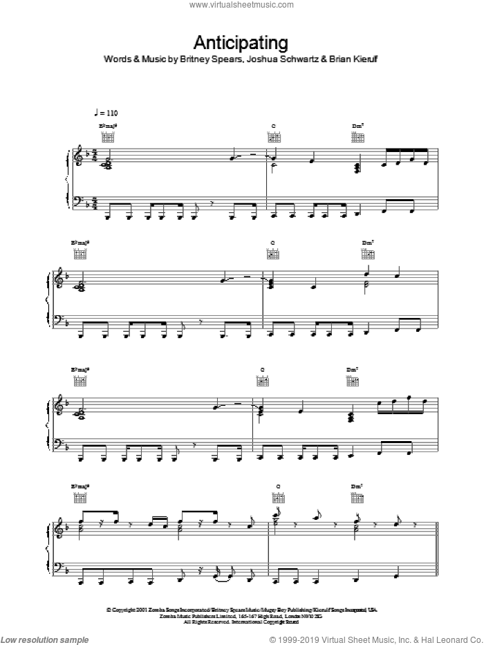 Anticipating sheet music for voice, piano or guitar by Britney Spears. Score Image Preview.