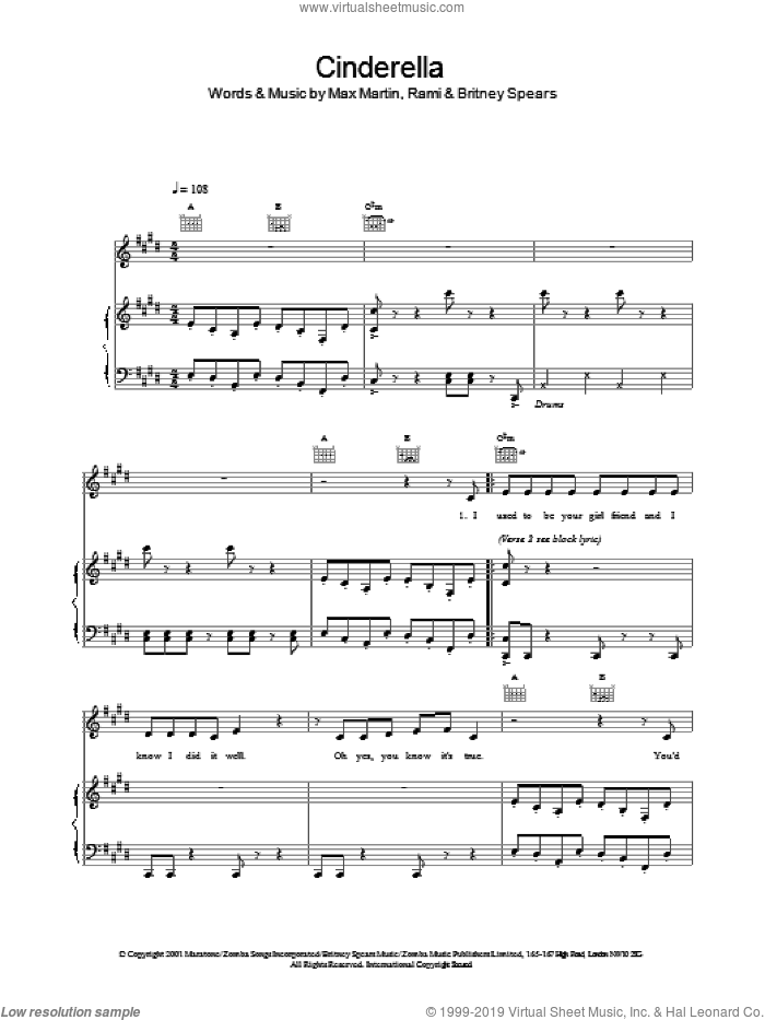 Cinderella sheet music for voice, piano or guitar by Britney Spears, intermediate skill level