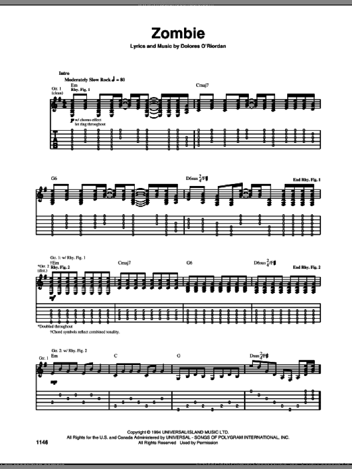 Zombie sheet music for guitar (tablature) by The Cranberries, intermediate. Score Image Preview.