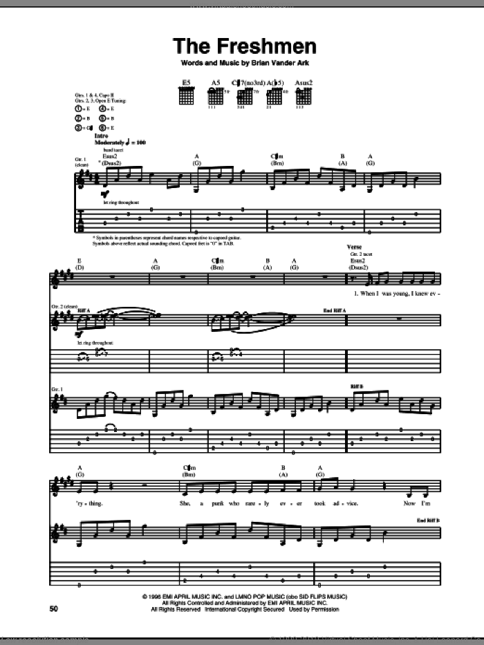 The Freshmen sheet music for guitar (tablature) by Brian Vander Ark and The Verve Pipe. Score Image Preview.