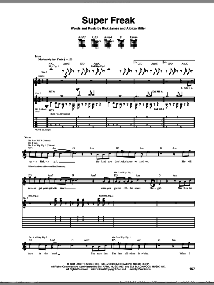 Super Freak sheet music for guitar (tablature) by Rick James, intermediate. Score Image Preview.