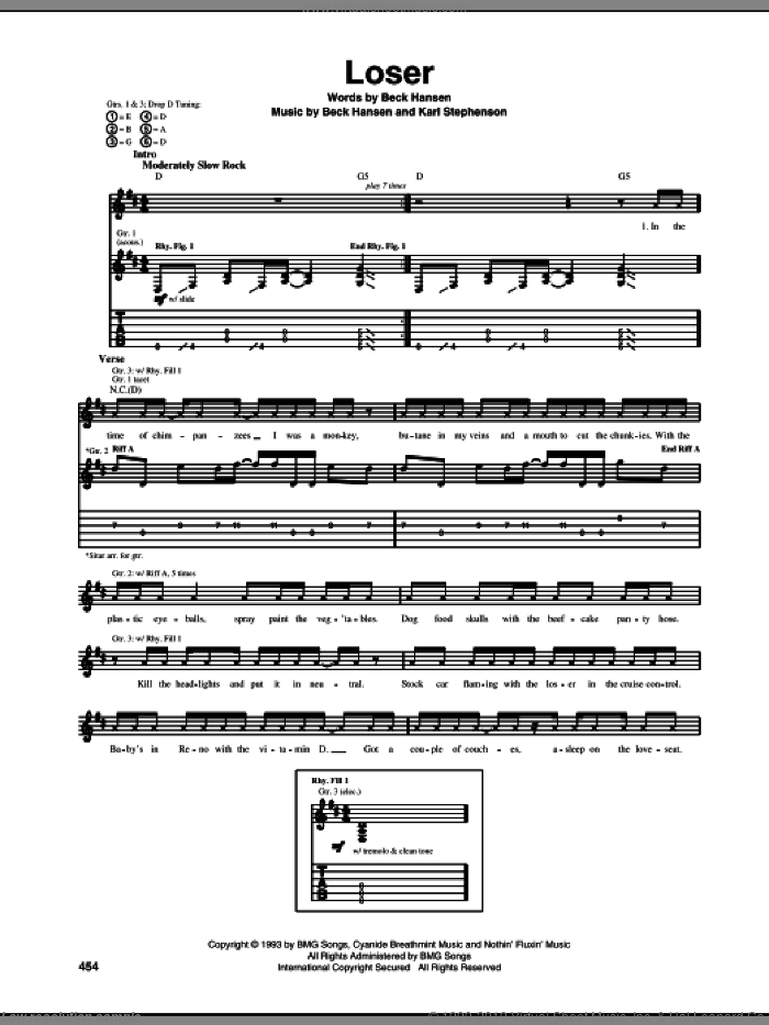Loser sheet music for guitar (tablature) by Beck Hansen and Miscellaneous, intermediate guitar (tablature). Score Image Preview.